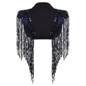 Image 4 - Fashion Womens Open Voor Sparkle Lange Sequin Kwasten Korte Cropped Vest Nachtclub Vest Hip Hop Dance Wear Cover Up wrap