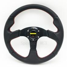 Universal Race Car Steering Wheel Flat Leather Drift Sport Wheel 14 Inch 350mm Steering Wheel For Car MO20S083080