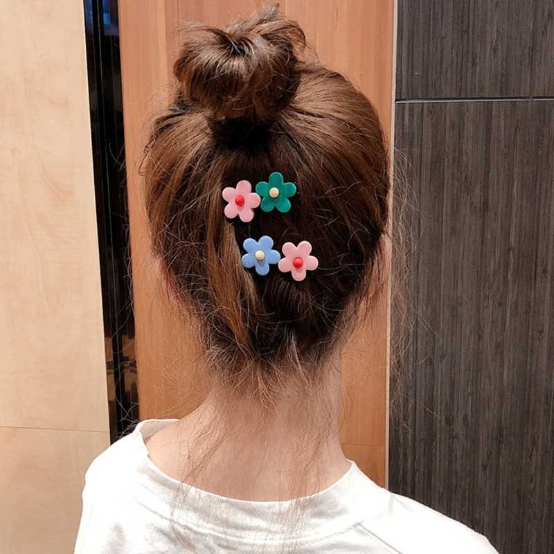 Korean Style Ladies Candy Color Duckbill Clips Flower Hairpin Hair Accessories Bangs Clip Kawaii Barrettes Women Adult