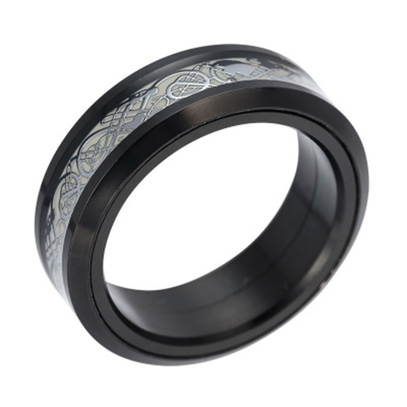 EDC Finger Fidget Spinner Dragon Pattern Rotatable Ring Relieving Anxiety Stress Y4UD