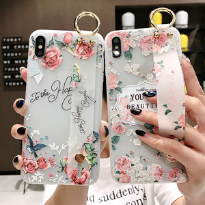 Image 1 - Dragonne souple étui pour téléphone pour iPhone XS Max étui XR 6 6S 8 7Plus Vintage fleur Rose à motifs floraux support support couverture