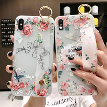 Flower Phone Wrist Strap Holder Case For iPhone XS Max XR 6 8 7Plus Relief Rose Kickstand Soft TPU Cover