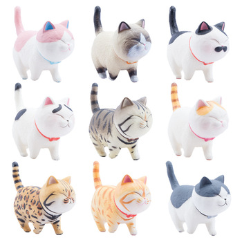 9pcs Kinds Cute Colorful Fat Squirrel Cat Wagtail Walking with Bell Lovely Blink Cat Creative Japan Animal Cat Figures toys gift