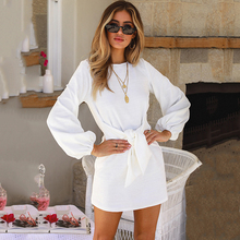 Women Mini Dress 2019 Autumn Winter Bow Tie Knot Dresses Long Lantern Sleeve Round Neck Solid Color Sexy Dress sexy style round neck long sleeve solid color backless women s dress