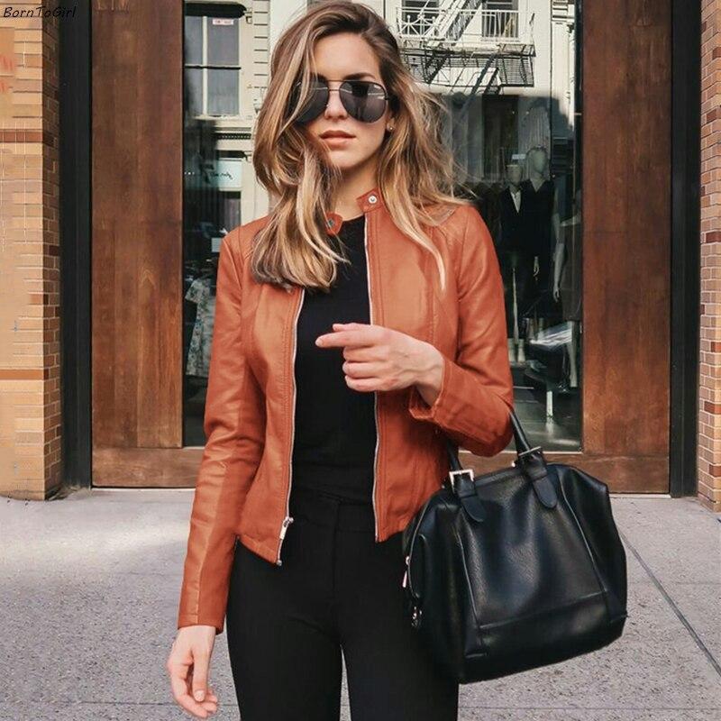 BornToGirl Women Faux Leather PU Jacket Coat Blazer Female Long Sleeve Black Blue Brown Green Basic Jacket Blazer Feminino