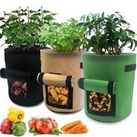 3 bolsas de cultivo de patatas cultivadas en jardín  bolsas de flores de tomate  macetas de jardín con tapa y mango  tela no tejida transpirable  Veget|Bolsas de cultivo|Hogar y jardín -