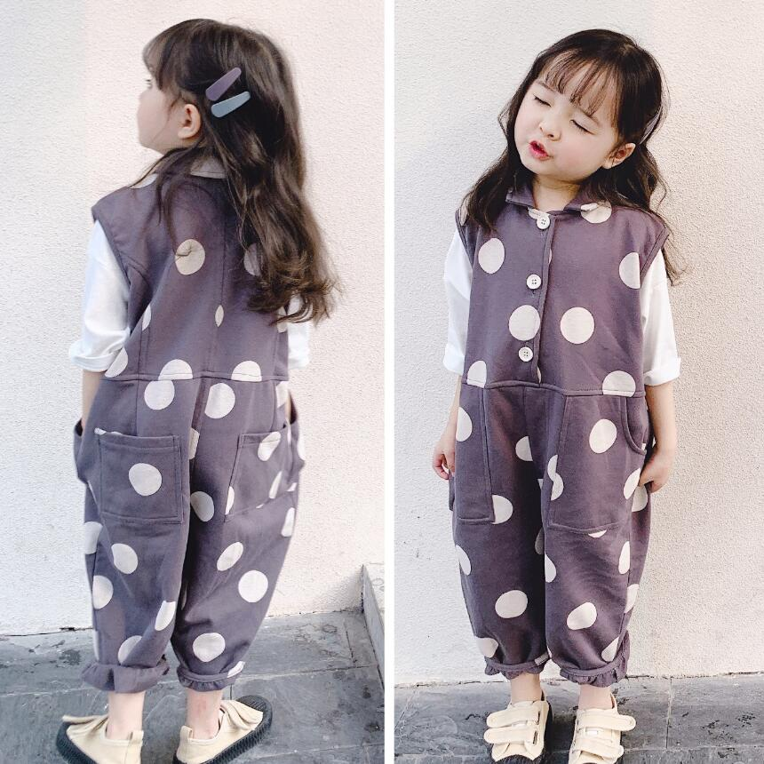 Baby Kid Girl 2-8Y Sleeveless Jumpsuit Romper Heart Dot Pants Trousers With Belt