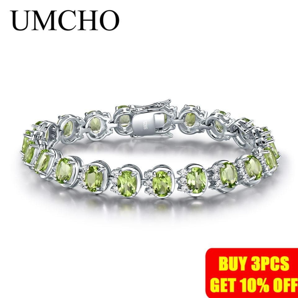 Image 2 - UMCHO Luxury 18.9ct Natural Peridot Bracelets For Women 925  Sterling Silver Chain Link bracelet Wedding Gemstone Fine  JewelryBracelets