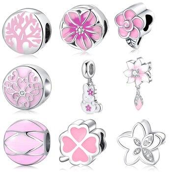 Pink Enamel Flowers CZ Charms