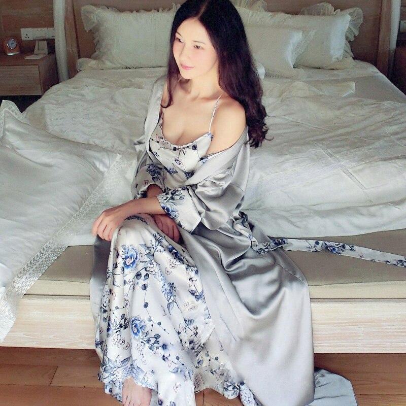 High Quality Women's Silk Pajamas Nightwear Two Pieces Bathrobe Spring Summer Long Robes Blue Floral Satin Sleepwear Nightwear