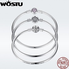 WOSTU Authentic 925 Sterling Silver Engrave Snowflake Clasp Unique as you are Chain Bracelet & Bangle Fit DIY Jewelry цена и фото