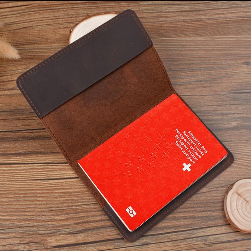 Real Leather Swiss Passport Cover  Retro Genuine Leather Switzerland Travel Passport Holder Full Grain Leather Passport