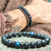 Mcllroy Classic Lava Stone Bracelet Homme Bead Tibetan Buddha Bracelet chakra Natural Stone Diffuser Bracelets Men Jewelry Gifts(China)
