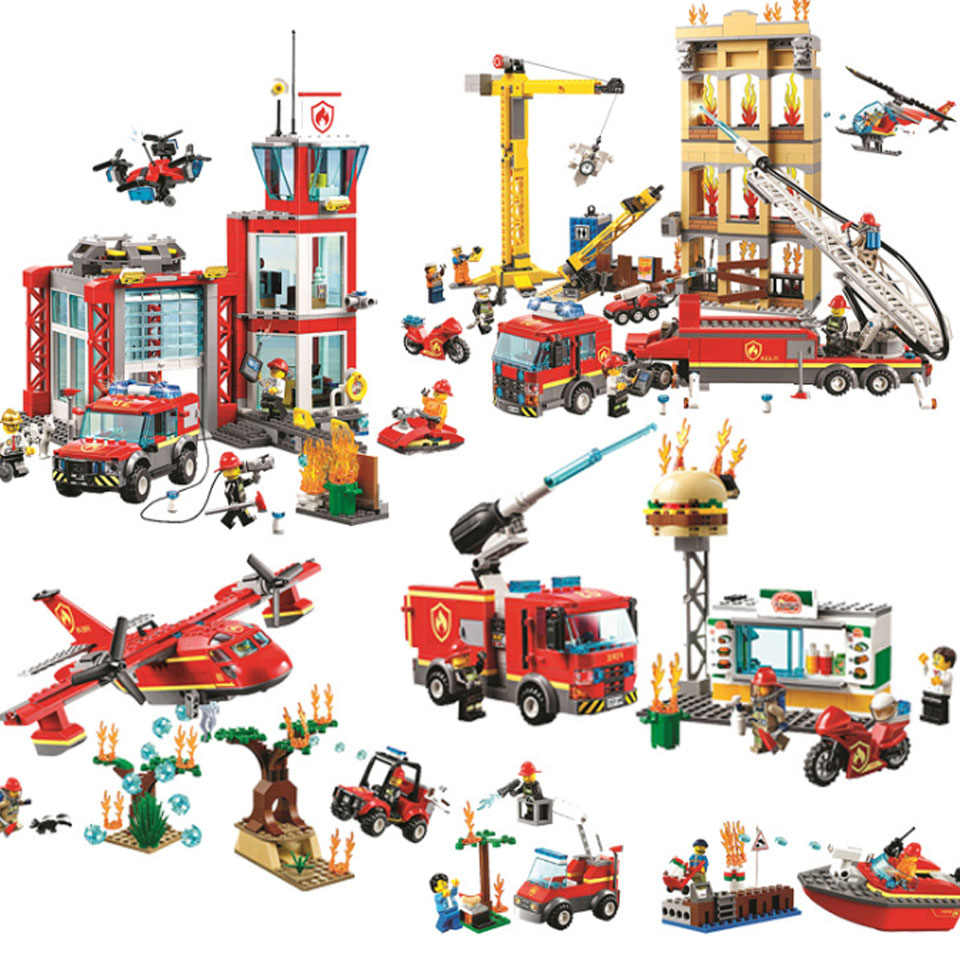 60110  Compatible Legoinglys City Series 60216 The Fire Station Model Building Block Brick Toy For Children Birthday Gift 10831