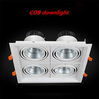 1pcs super bright 4 head square dimmable LED downlight recessed downlight 40w ac85 265V indoor lighting LED light