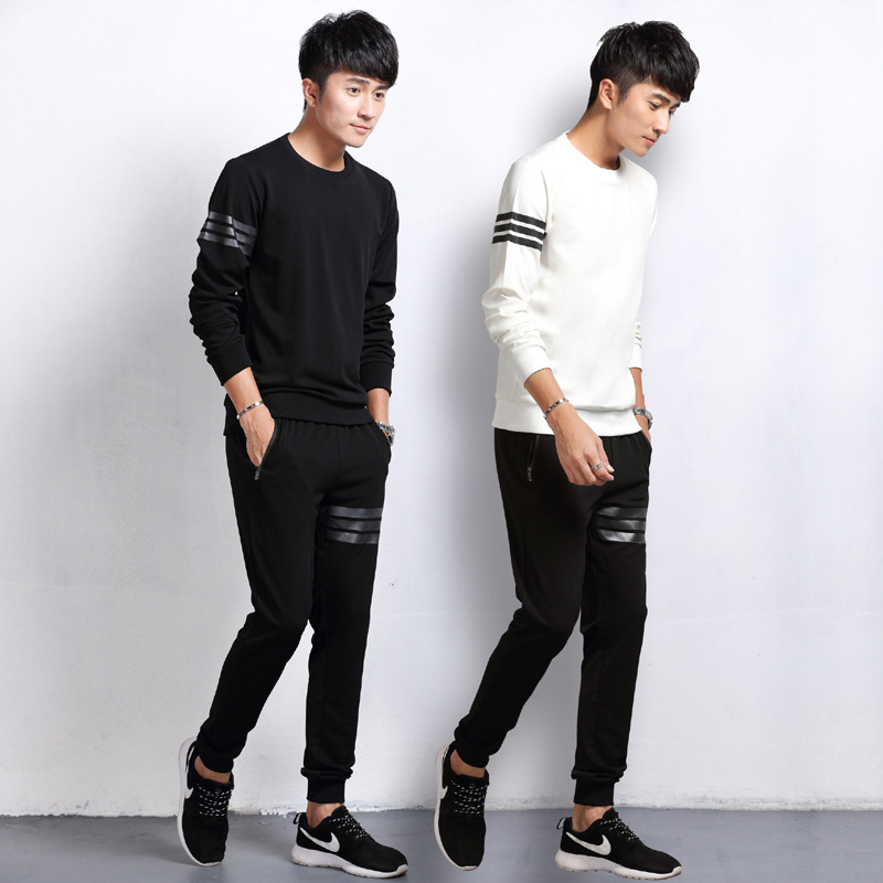 2019 Spring New Style Pullover Crew Neck Hoodie Suit Men's Casual Teenager Sports Jogging Suits Leisure Suit Fashion