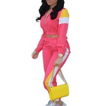 Women 2Piece Color Block Outfits Tracksuits Stripe Patchwork Long Sleeve Zip Jacket Crop Top Skinny Ankle Length Pants Sweatsuit цена 2017