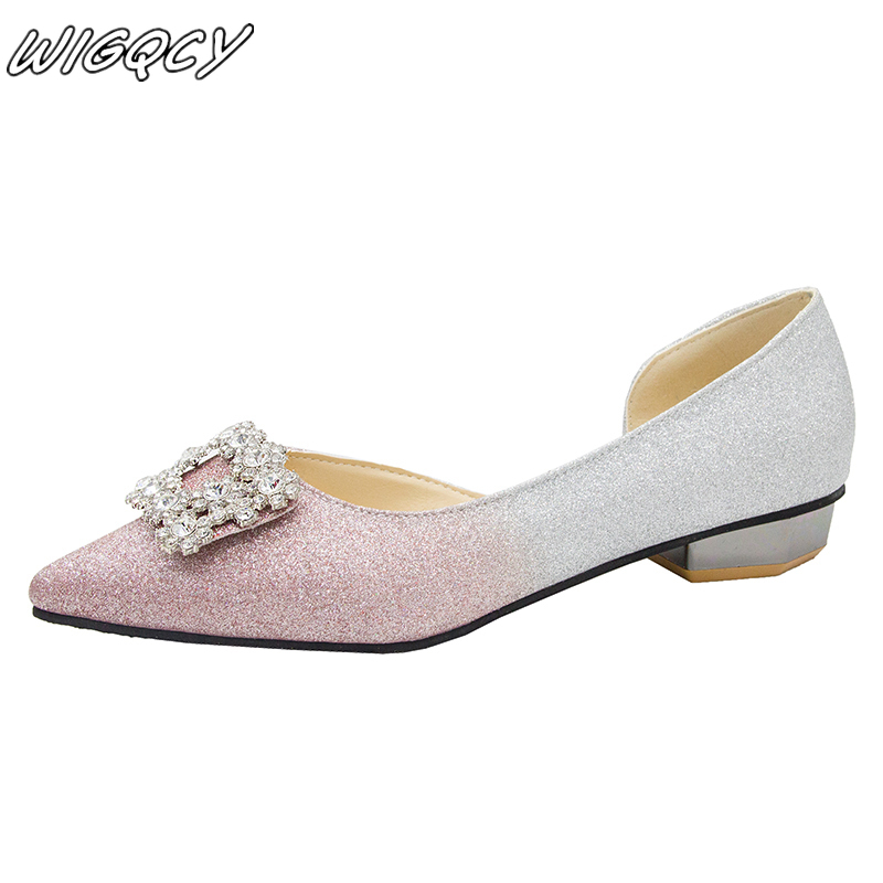 2019 new women's casual Boards Shoes Zapatos shallow mouth pointed rhinestone sets of feet flat shoes Outdoor walk single shoes image