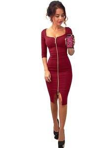 Lossky Bodycon Dress Sheath Sexy Club Zipper Red Velvet Black Autumn Winter Fashion Casual