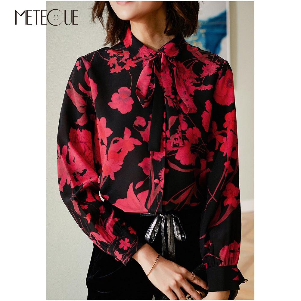 Bow Tie Collar 100% ผ้าไหมผู้หญิงเสื้อ 2019 ฤดูใบไม้ผลิแฟชั่นฤดูร้อนดอกไม้สีแดงแขนยาวผู้หญิงเสื้อและเสื้อ 2019 ฤดูใบไม้ร่วง-ใน เสื้อสตรีและเสื้อเชิ้ต จาก เสื้อผ้าสตรี บน   2