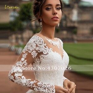 Image 3 - Loverxu Scoop Ball Gown Wedding Dresses 2019 Glamorous Applique Long Sleeve Button Bride Dress Court Train Bridal Gown Plus Size
