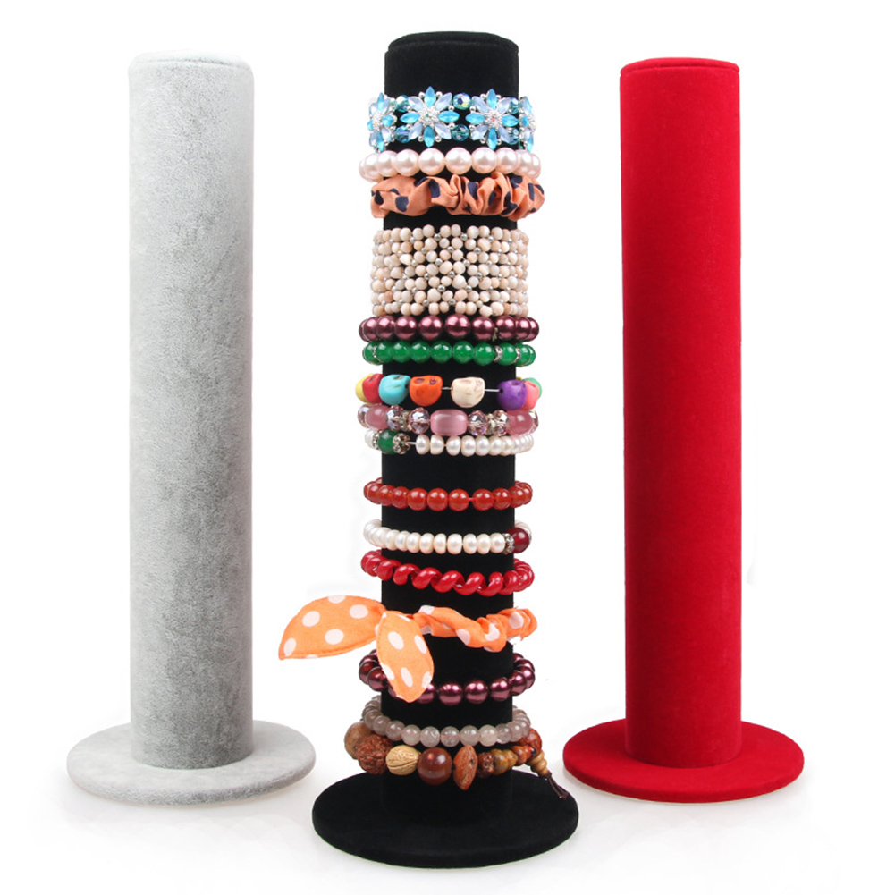 1 Set Jewelry Display Stand Velvet Jewelry Bracelet Watch Display Stand Bar Rack Holder Organizer Tower Velvet Jewlery Storage