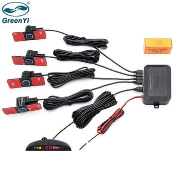 GreenYi LED parking 4 czujniki Auto czujniki parkowania odwróć 6 kolorów backup czujnik parkowania detektor monitor podświetlenie wyświetlacza tanie i dobre opinie Widoczne CN (pochodzenie) PS300 Chiński (uproszczony) 0 3-2m 4 PCS 13mm Sensor with 2 5m wire DC-12V 13mm Flat Sensors
