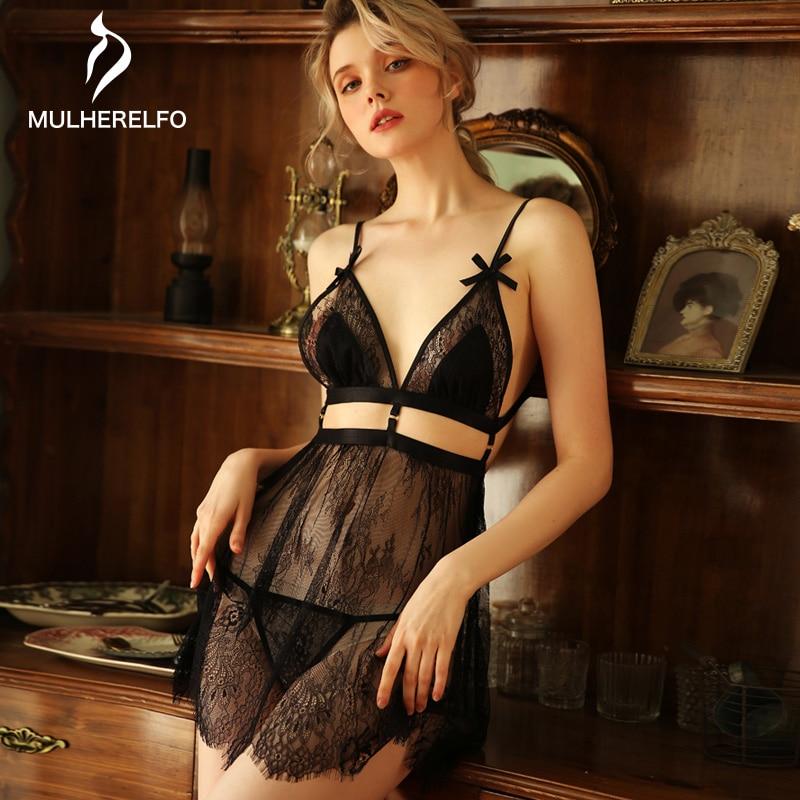 Sexy Sleeveless Nightdress Women Summer Lace Mesh Hollow Spaghetti Straps Sleepwear Sexy Backless See Through Women Nightgowns