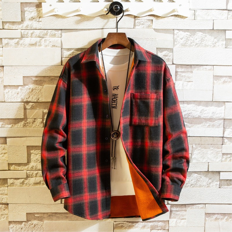 Mens Dress Shirts 2019 Autumn New Fashion Men Shirt Long Sleeve Casual Handsome Plus Velvet Warm Plus Size Shirt