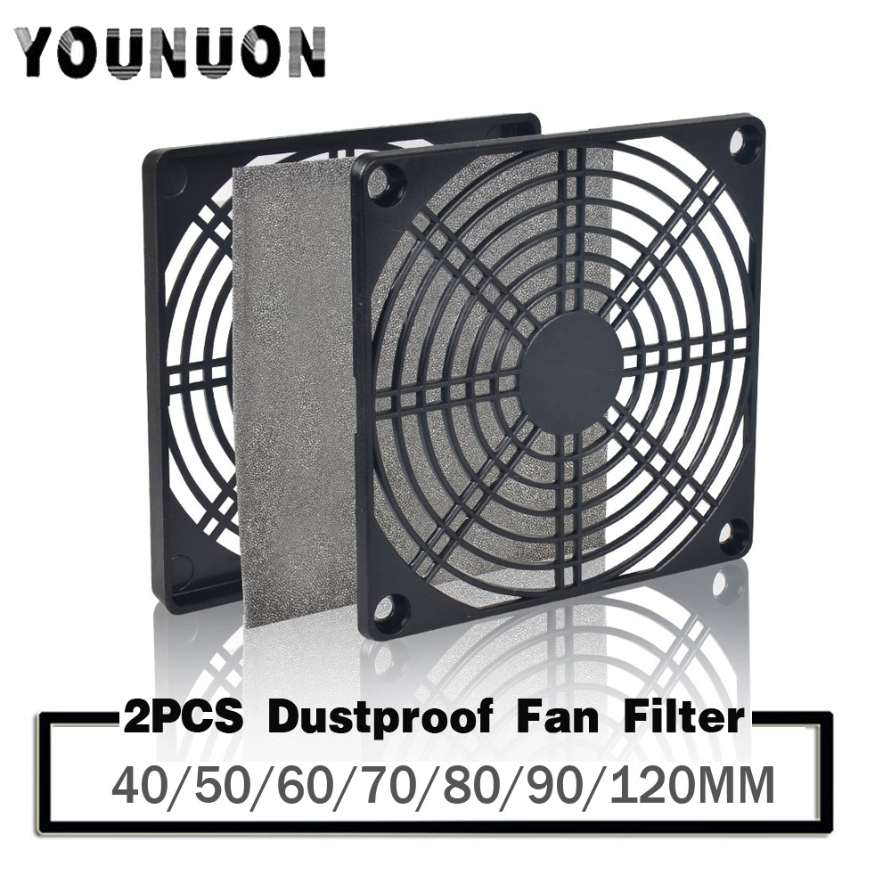 2pcs Dustproof  Fan Filter 40mm 50mm 60mm 80mm 90mm 120mm for PC Computer Case Cooling Fan Guard ABS Computer Ventilator Grill