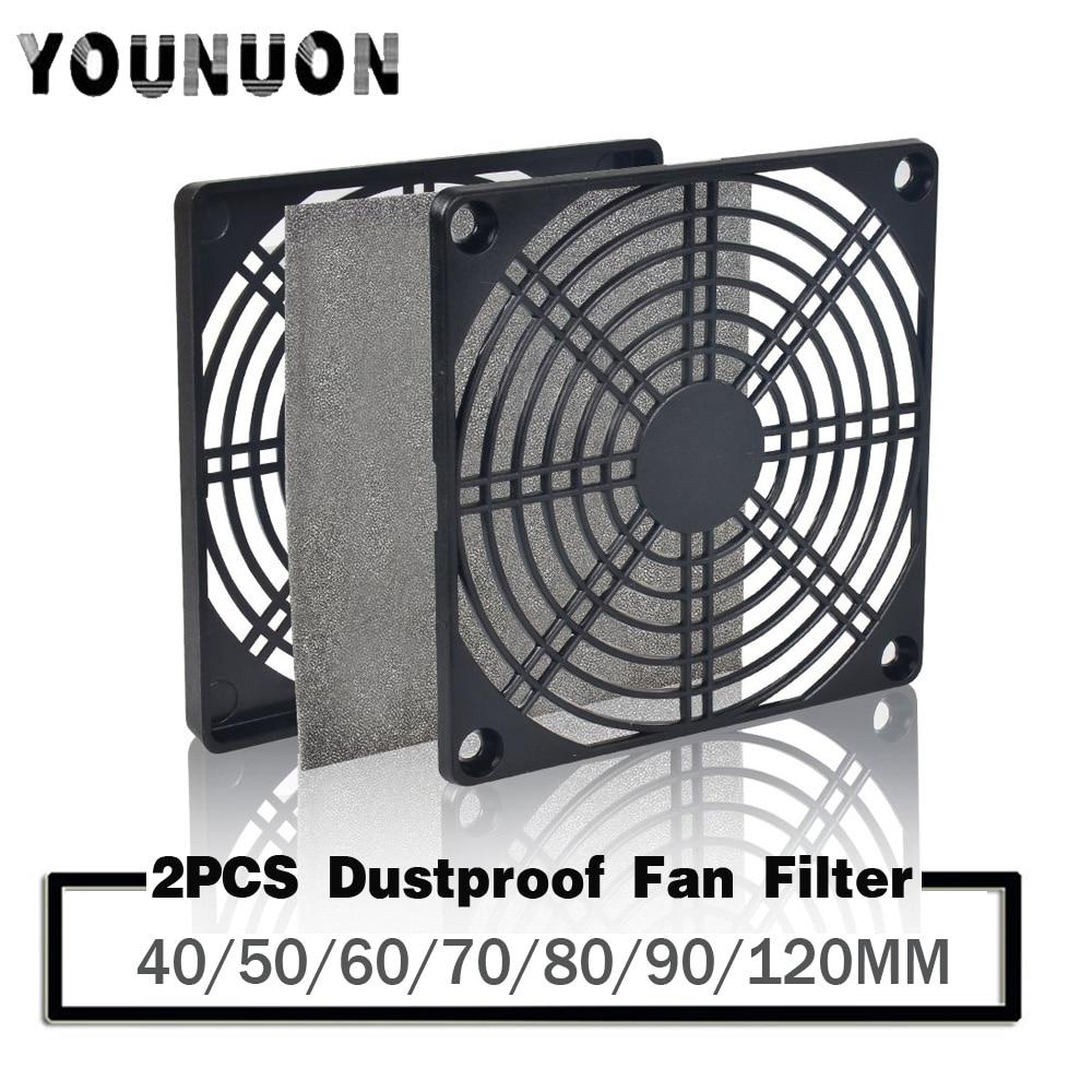 2pcs Dustproof  Fan Filter 40mm 50mm 60mm 80mm 90mm 120mm For PC Computer Case Cooling Fan Guard ABS Computer Ventilator Grill