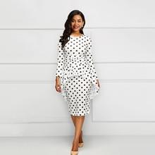 Sisjuly Винтаж элегантный простой белый женщины миди платья Облеающий 2 шт Горошек Falbala печати 2XL женский Африканский платье