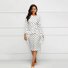 Sisjuly Vintage Elegant Simple White Women Midi Dresses Bodycon 2 Pieces Polka Dots Falbala Print 2XL Female African 2019 Dress sisjuly white xxl