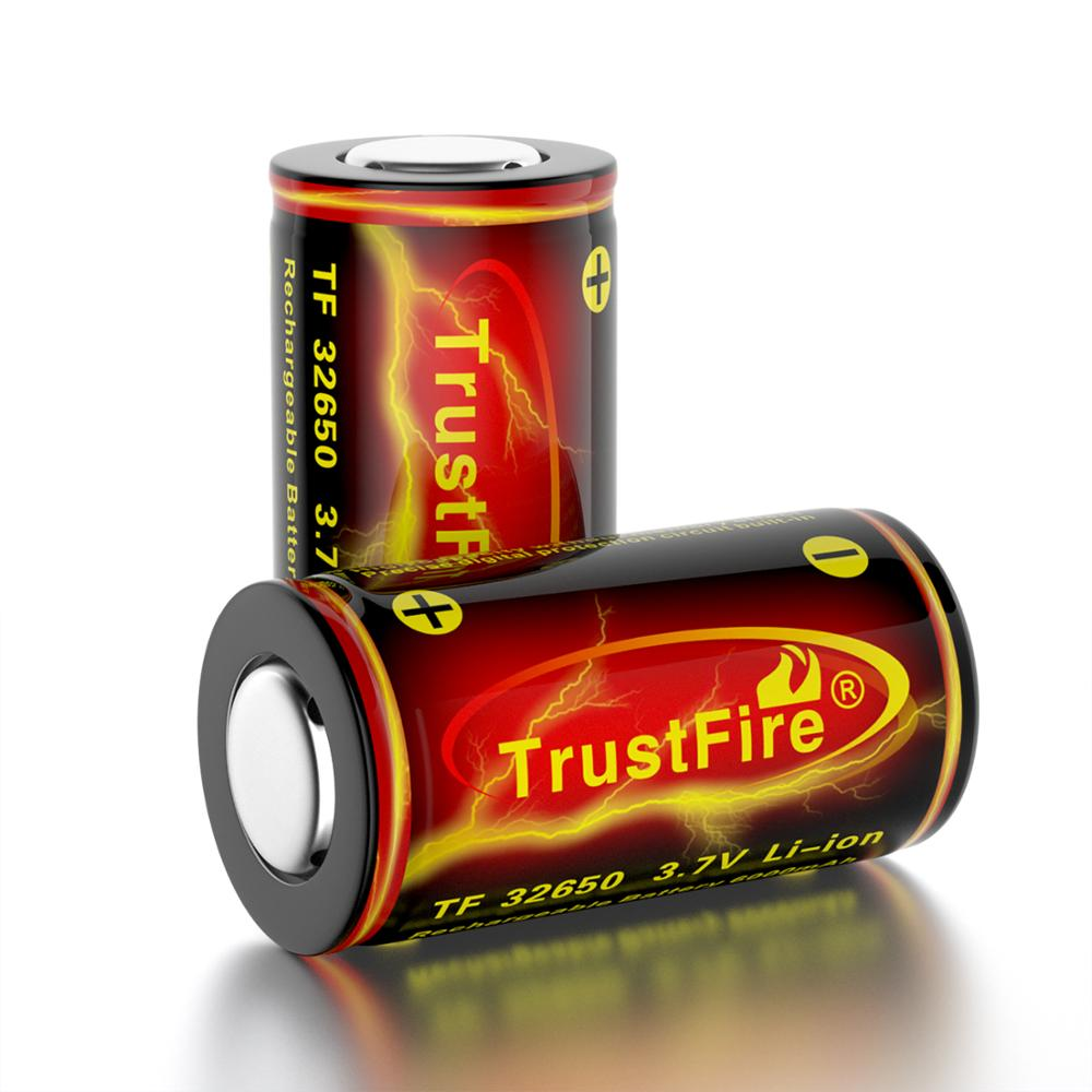 Trustfire <font><b>Rechargeable</b></font> 32650 <font><b>6000mah</b></font> <font><b>Battery</b></font> <font><b>li</b></font>-<font><b>ion</b></font> <font><b>Battery</b></font> <font><b>3.7V</b></font> Cell <font><b>Rechargeable</b></font> <font><b>batteries</b></font> With Protection Flat Top image