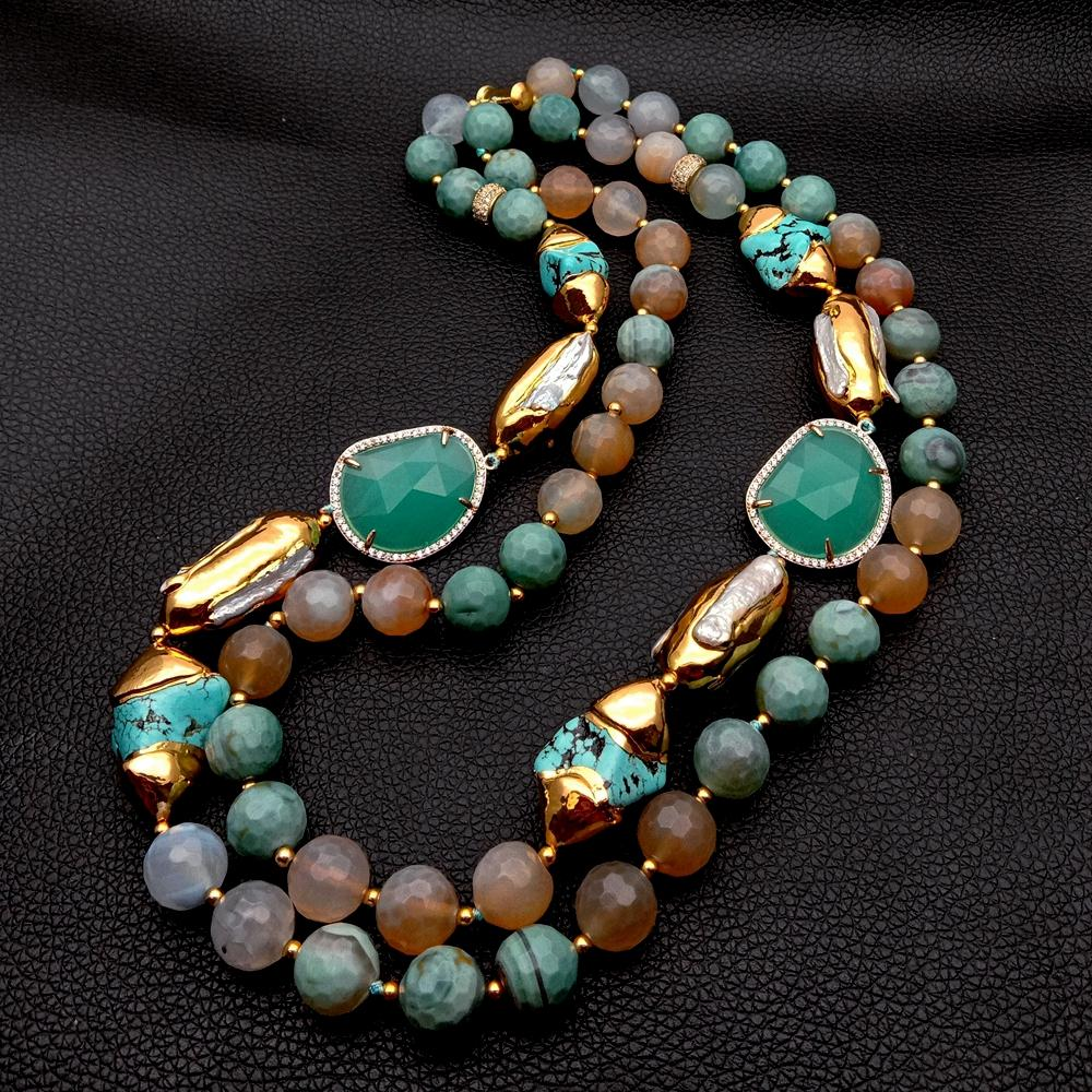 Женское Ожерелье с натуральным жемчугом, Ювелирное Украшение в этническом стиле, бива, цвет зеленый, синий, белый, 21 дюйм, 2 ряда