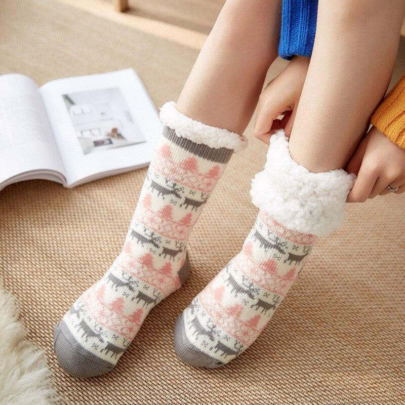 Women Ultimate Cosy Socks Warm Knit Festive Winter Fleece Lining Insulate Slippers Indoor Christmas Fuzzy Slipper Socks Female