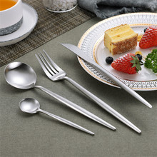 Primary colors 304 Stainless Steel Western Silverware Cutlery Set Noble Fork Knife Dessert Dinnerware Kitchen Food Tableware цена и фото