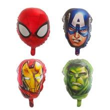 50pcs Captain America Hulk Spider Head Foil Balloons super Hero man balloons birthday party Decor kids toys supplies wholesale