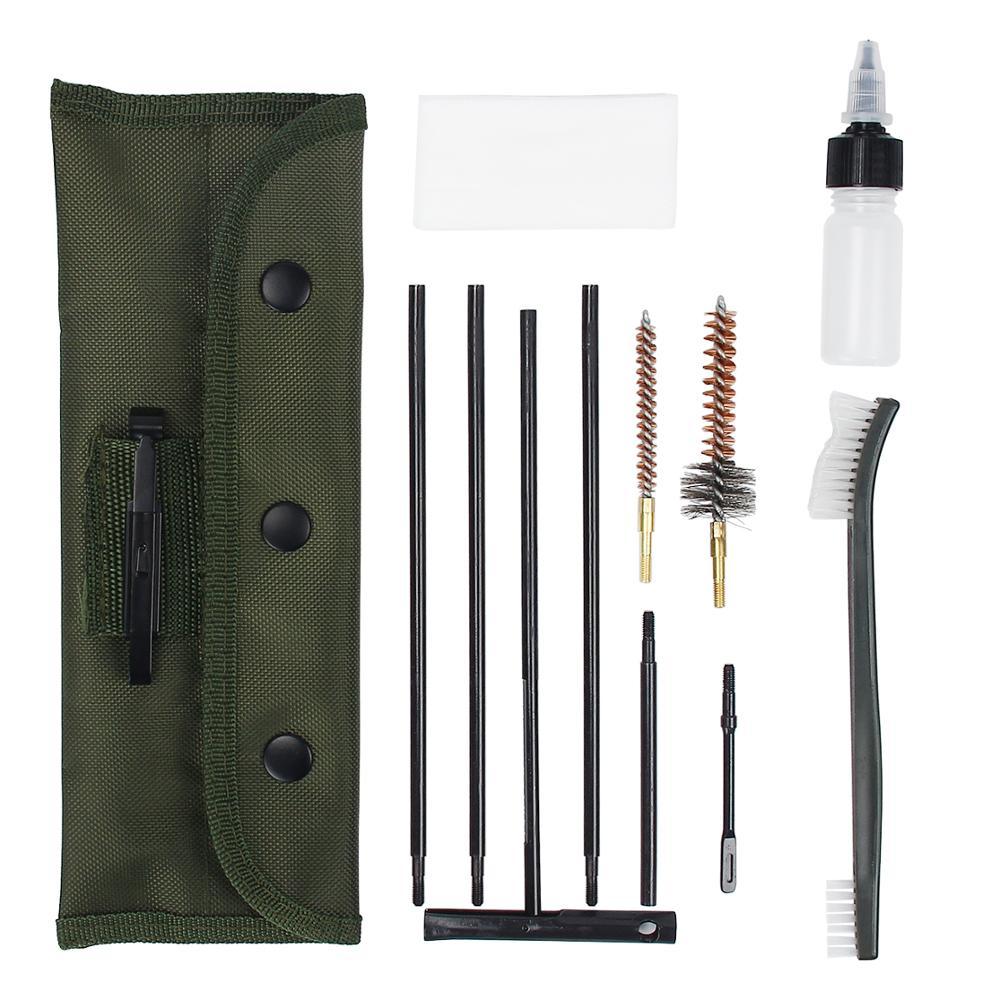 10 sztuk/zestaw przenośny Rrifle zestaw czyszczący do 5.56mm .223 .22 Cal z futerał do przenoszenia do polowania strzelanie strzelba taktyczna pistolet szczotka