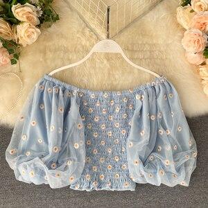RUGOD 2020 Новое поступление Женская блузка Корейская шикарная рубашка с вышивкой маленькие ромашки рубашка Милая Короткая туника для девочек