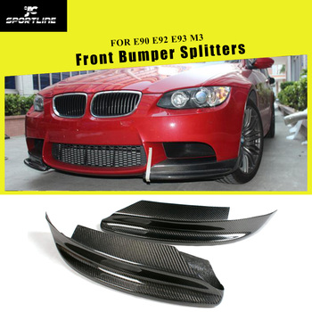 Carbon Fiber Front Bumper Splitters Lips Apron Cupwings Winglets Aprons for BMW 3 Series E90 E92 E93 M3 Only 2008 - 2013