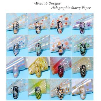 16 sztuk zestaw folie do transferu na paznokcie holograficzne kwiaty okłady paznokci naklejka koronki biały Manicure dekoracyjne naklejki wzory Mix D0K3 tanie i dobre opinie ibcccndc stickers MNA0994 Naklejka naklejka 1pcs