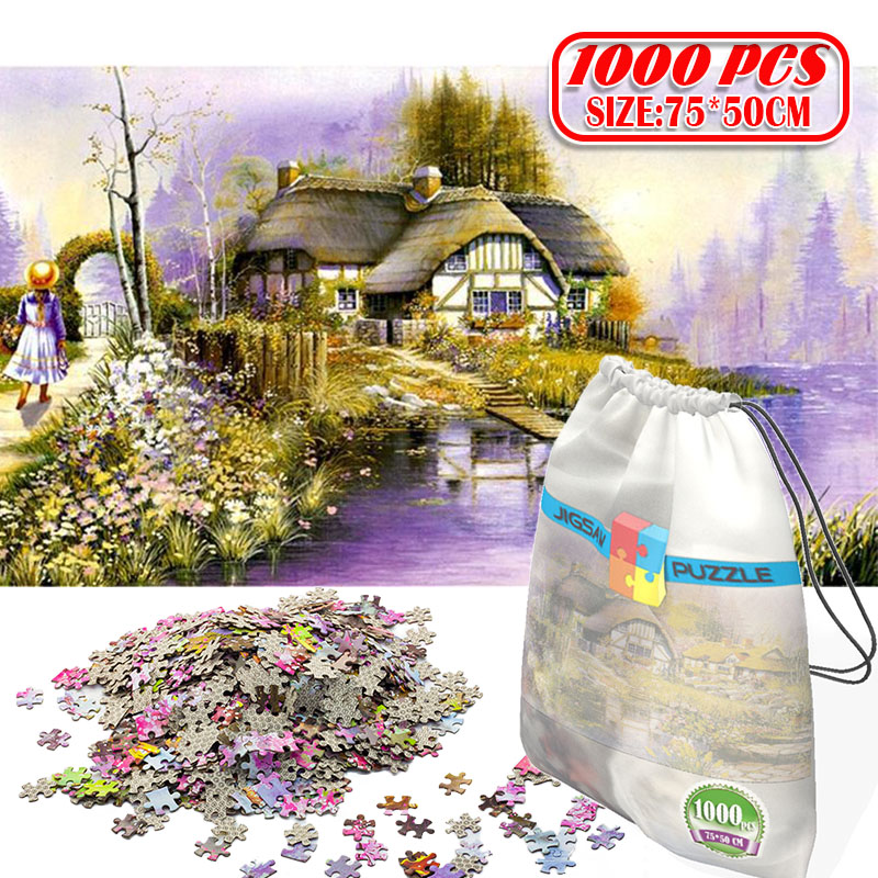 3D Paper Jigsaw Puzzle 1000 Pieces Wooden Toys Puzzles For Adults Educational Toys Decoration Stickers Thatched Girl