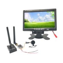 Fpv 시스템 와이드 전압 5.8g 40ch 600mw 송신기 + fpv 레이싱 무인 항공기 용 7 인치 디스플레이가있는 fpv 미니 카메라