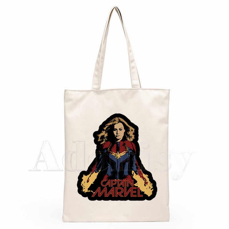Captain Marvel Dames Handtassen Doek Canvas Draagtas Winkelen Reizen Vrouwen Eco Herbruikbare Schouder Shopper Tassen Bolsas De Tela