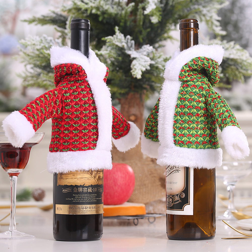 Useful Christmas Decorations Sweater For Bottle Santa Clause Coat Clothes Man Dress For Wine Bottle Decor