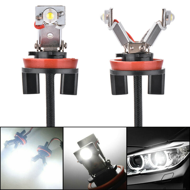2pcs Car H8 LED Angel Eyes Light Set For BMW E60/E61/E71/E70/LCI/E90/E91/X5/X6/Z4/E92/X1 Exterior Parts 6000K White Bulbs
