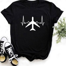 Airplane Heartbeat Print T Shirt Women Short Sleeve O Neck Loose Tshirt 2020 Sum