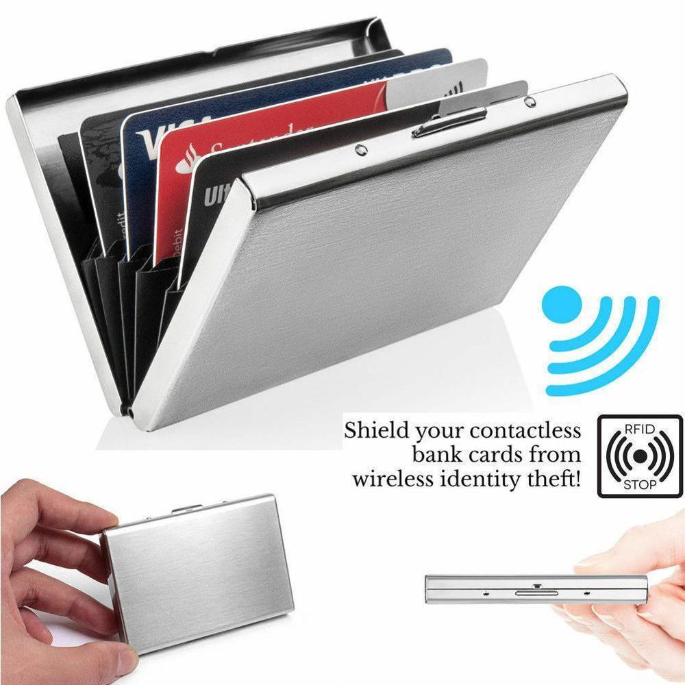 Anti-Scan RFID 1 PC Aluminum Metal Credit Card Holder Slim Blocking Wallet Case Business Card Protection Holder Case