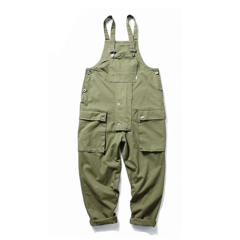 KIOVNO Fashion Men Hip Hop Bib Overalls Multi Pockets Cargo Work Streetwear Jumpsuits For Male Loose Pants (14)